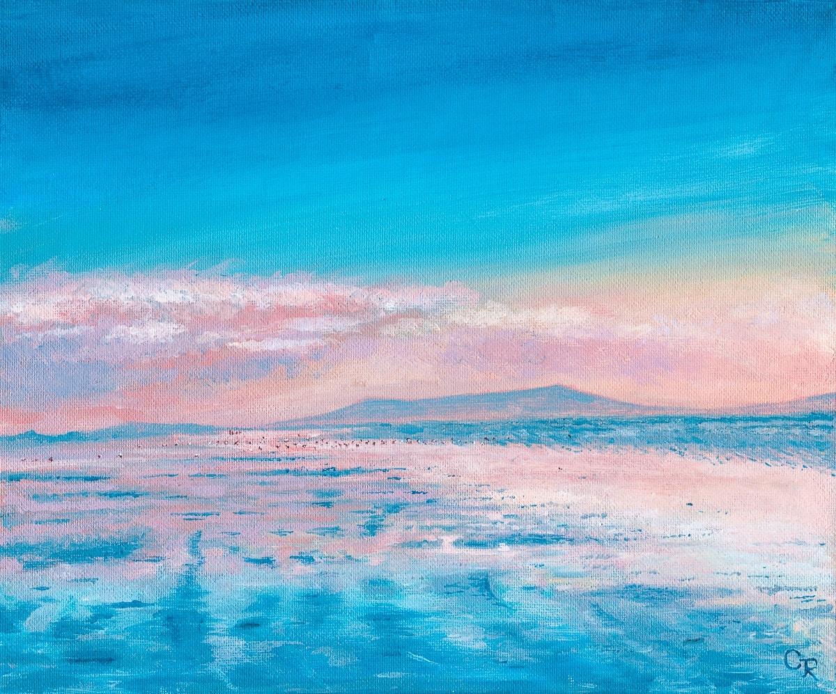 acrylic painting of Cefn Sidan at sunset