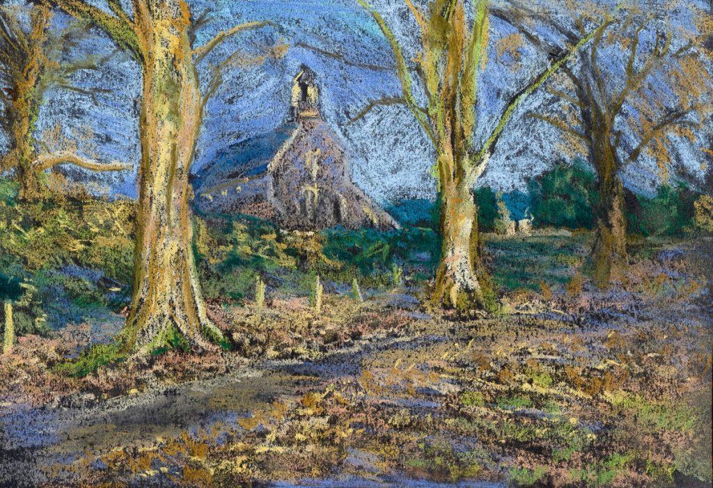 St Cynog's Church drawn in soft pastels