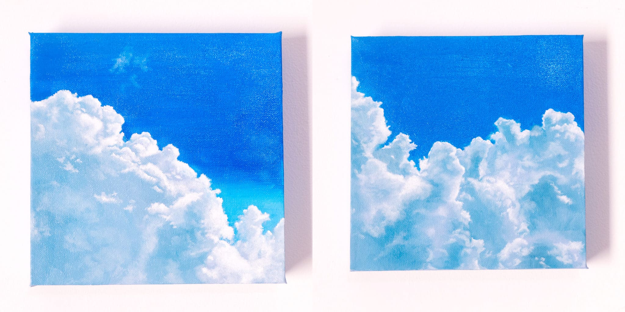two square cloudscape oil paintings