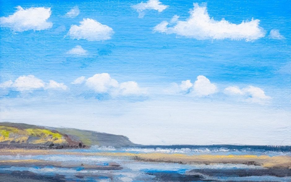 A small oil painting of the view east from Amroth beach, Pembrokeshire, Wales.
