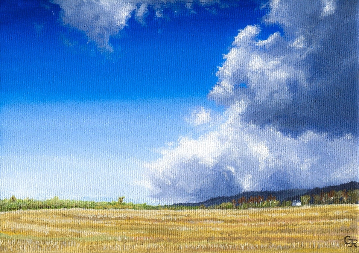 acrylic painting of hail clouds over Sussex countryside