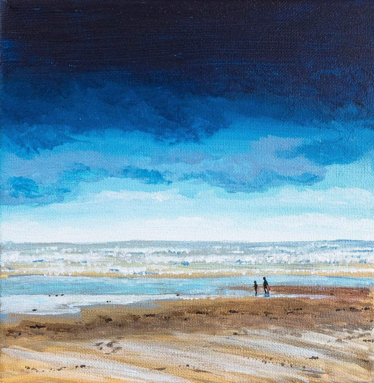 acrylic painting of Camber Sands in East Sussex