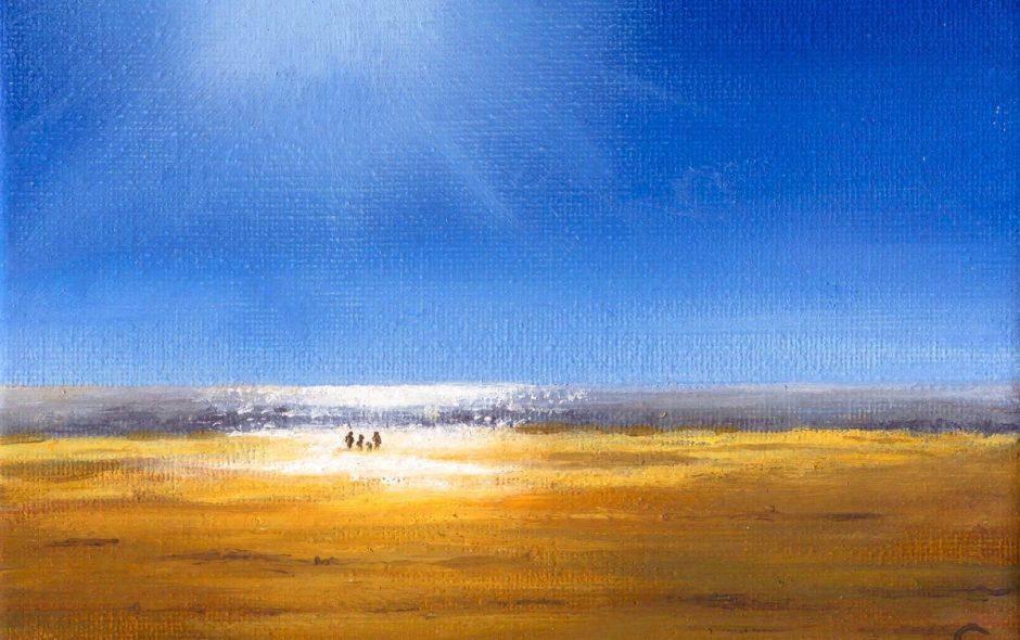oil painting of winter sun at cefn sidan beach