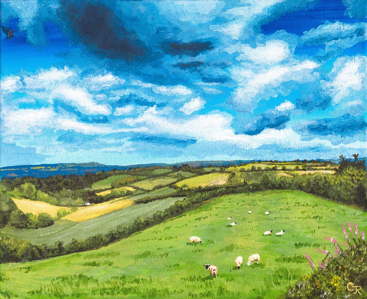 acrylic painting of welsh countryside