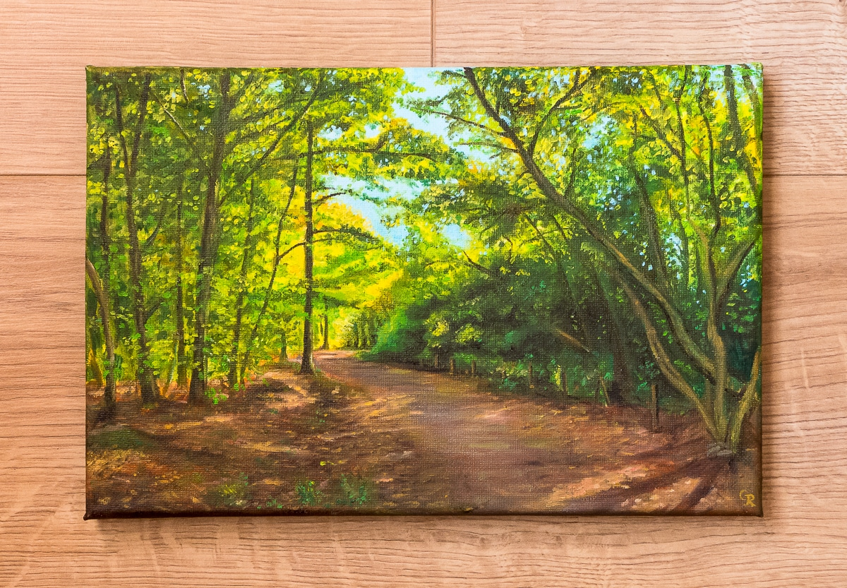 Hargate Forest in autumn oil painting
