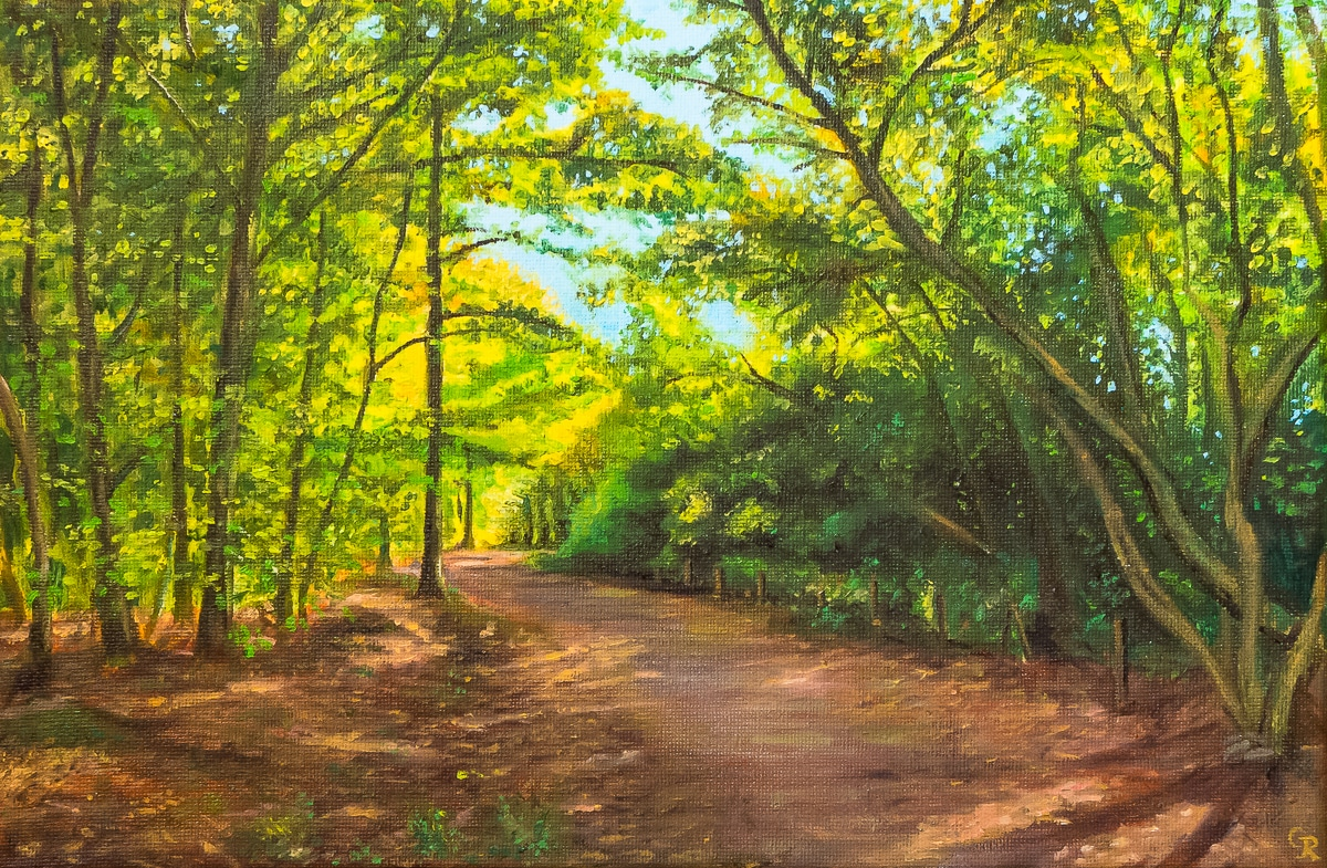 oil painting of deciduous woodland in autumn light
