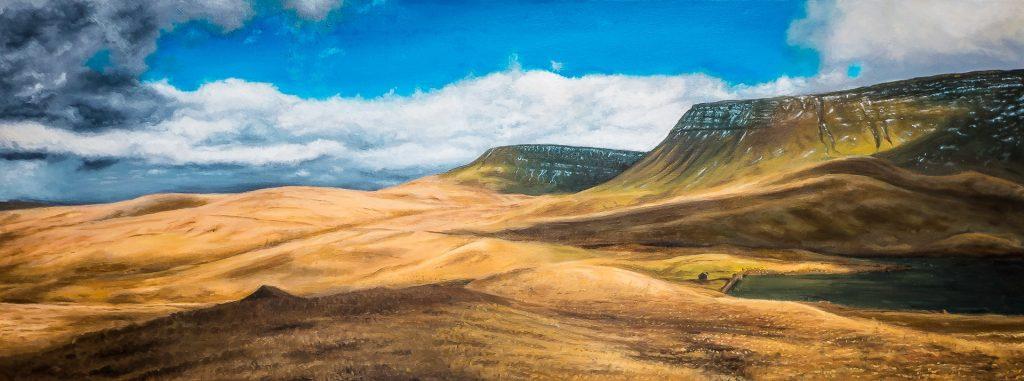 welsh oil painting of llyn y fan fach in winter