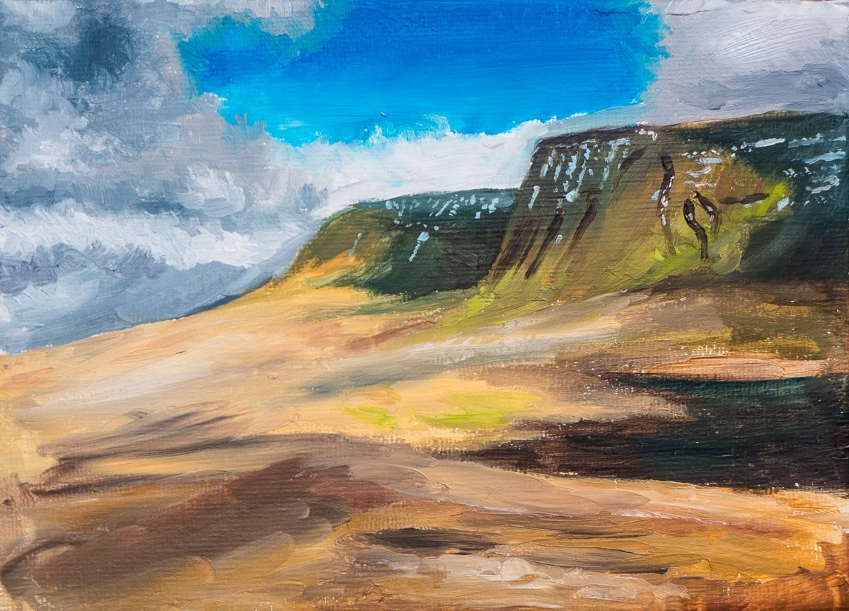 Oil painting colour study of Llyn y Fan Fach