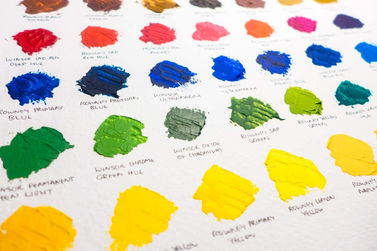 colour swatch of daler rowney and winsor newton oil paints