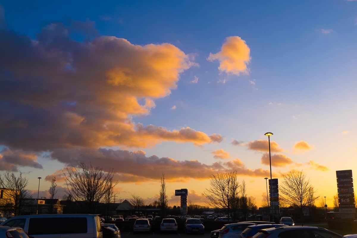 sunset over Pemberton Retail Park Llanelli