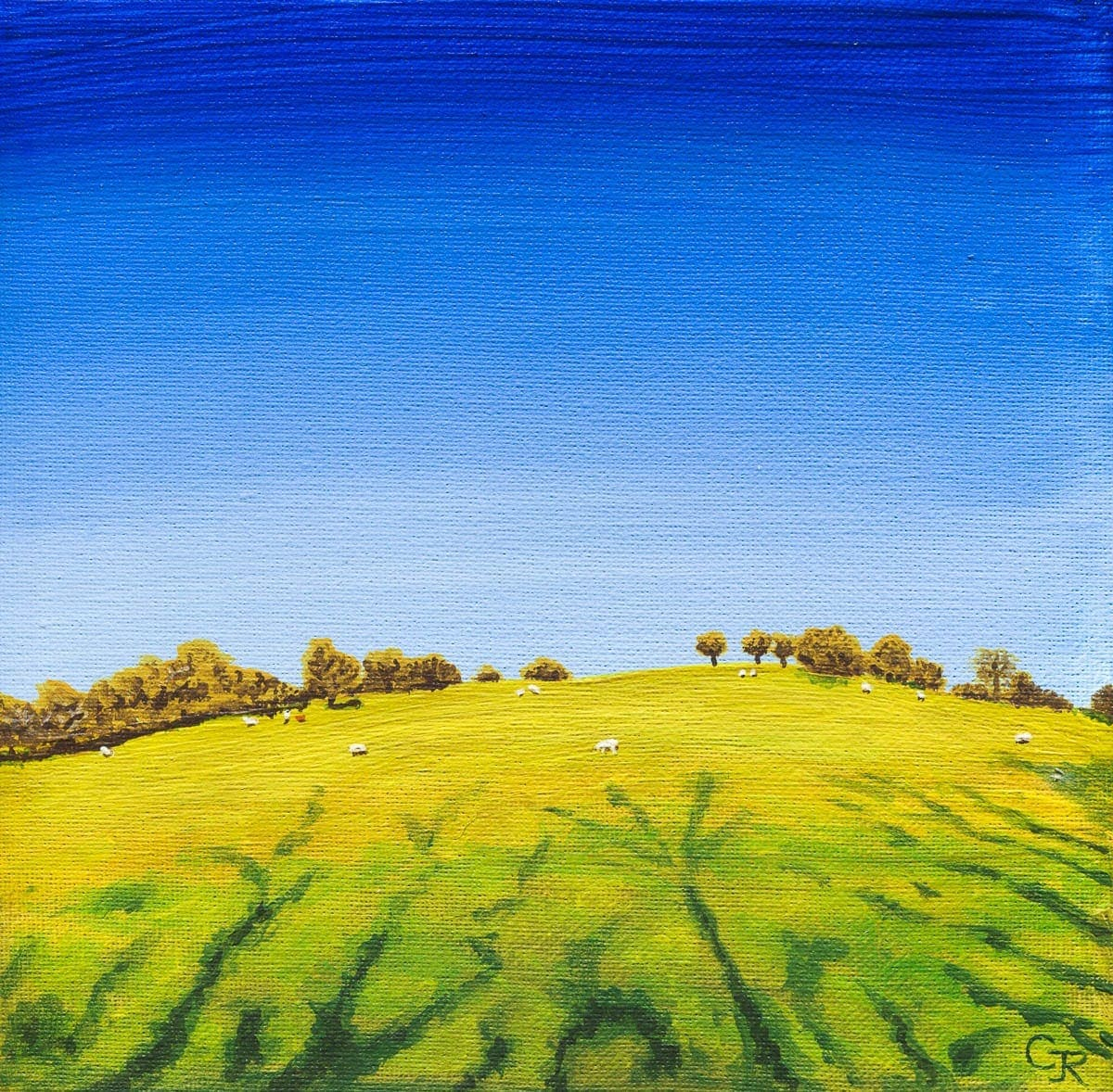 acrylic painting of countryside near Trapp, Carmarthenshire