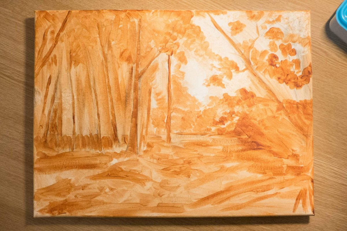 oil underpainting of a woodland scene