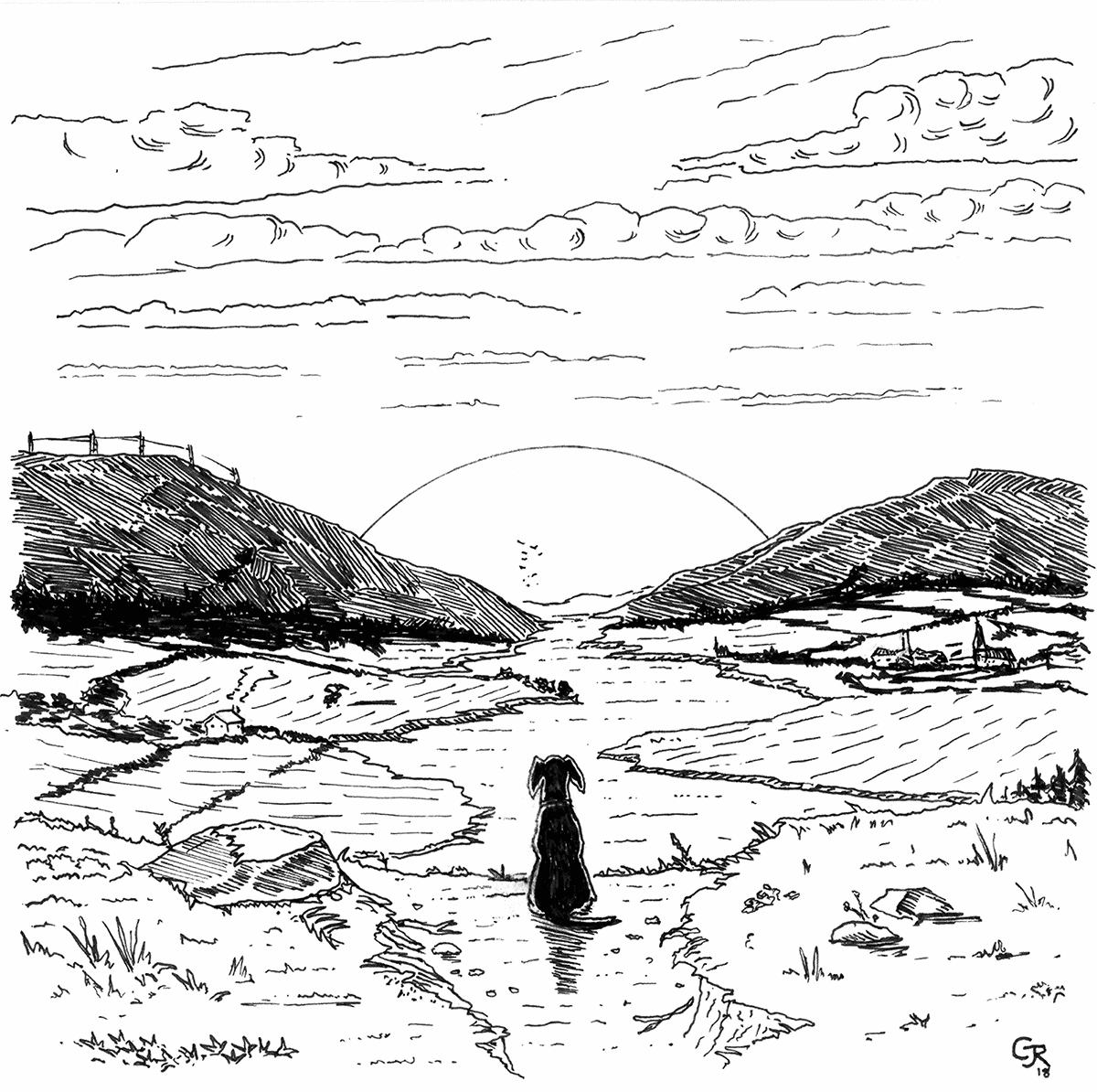 Pen drawing of a black labradour looking over a valley