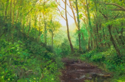 oil painting of light through trees in a Welsh woodland