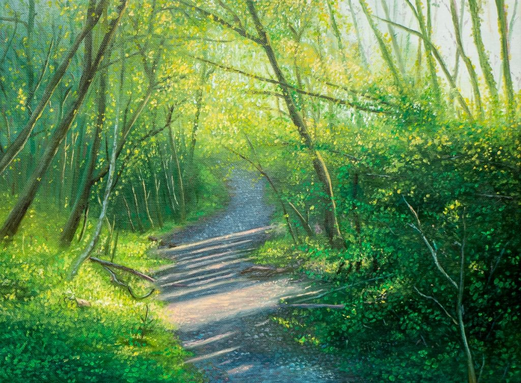 oil painting of welsh spring woodlands