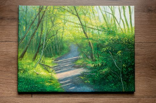 oil painting of spring woodlands in Ystradfawr Nature Reserve, Ystradgynlais