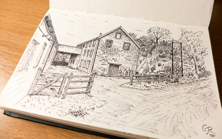 sketchbook showing a pen drawing of Cilwendeg Woolen Mill, Drefach-Felindre, Carmarthenshire