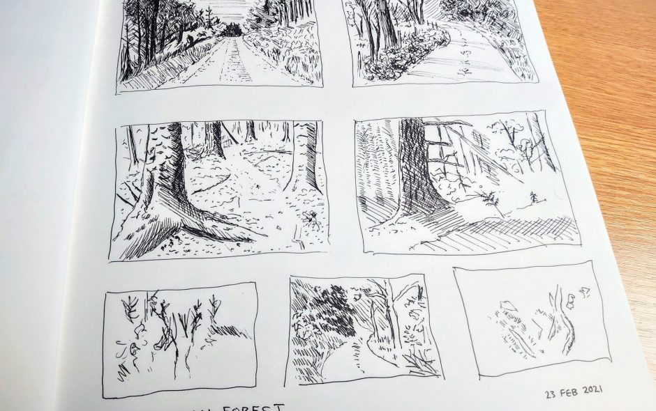 pen sketches of crychan forest in a sketchbook