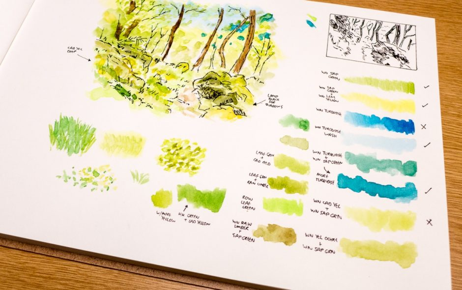 sketchbook showing ideas for a drawing of Gwenffrwd-Dinas