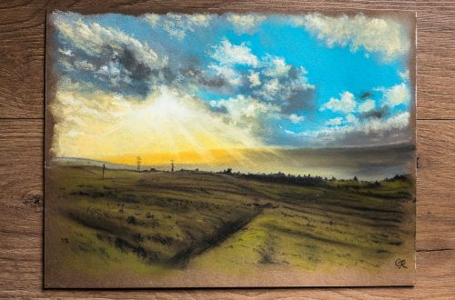 pastel art of dusk over Amman Valley, Carmarthenshire