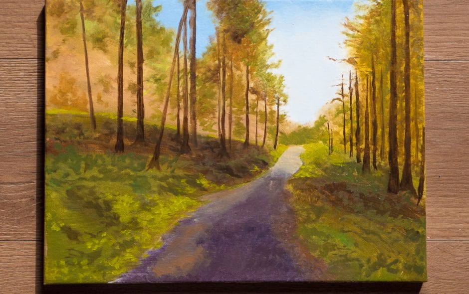 an oil painting of Halfway Forest in progress